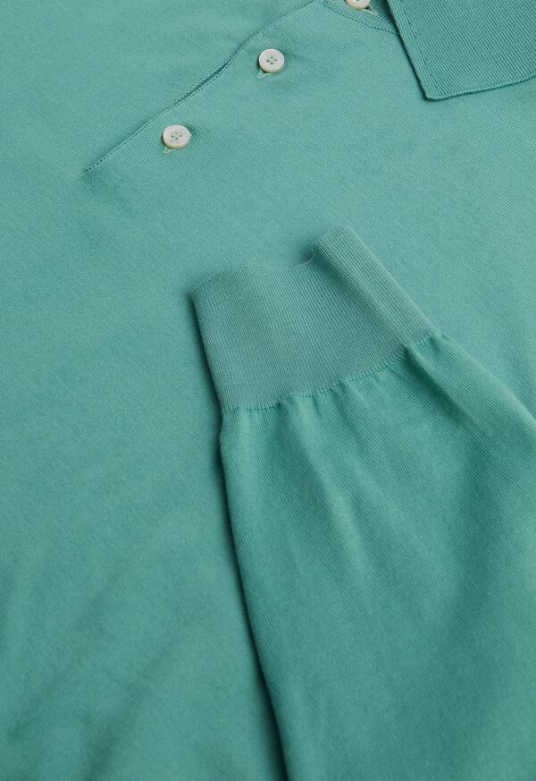 Long Sleeve Cotton Polo Shirt, image 4