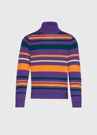 Cashmere Multi Color Stripe Turtleneck, thumbnail 1