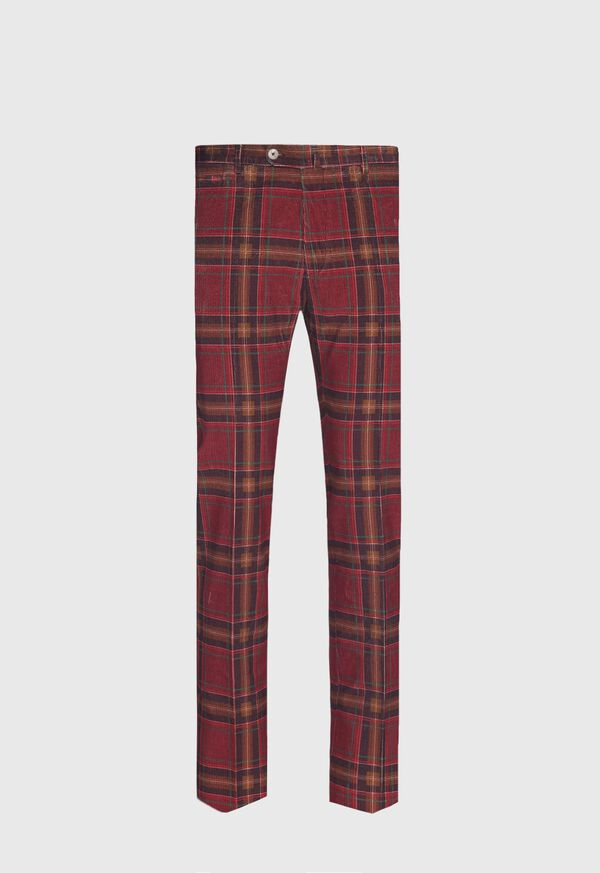 Burgundy Plaid Corduroy Pants, image 1