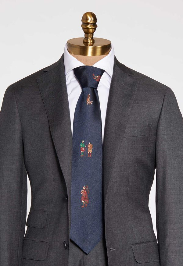 Navy Bagpiper Silk Tie, image 1