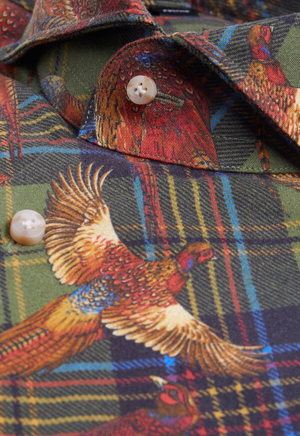 Pheasant Plaid Brushed Cotton Shirt, image 2