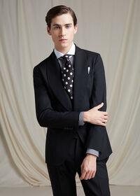 Black & White Horizontal Stripe White Round Collar Shirt, thumbnail 4