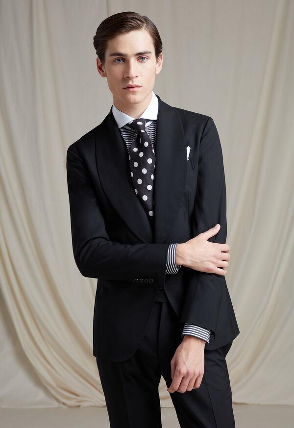 Black & White Horizontal Stripe White Round Collar Shirt, image 4