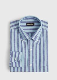 Linen 2 Color Awning Stripe Sport Shirt, thumbnail 1