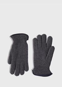 Cashmere Ribbed Glove with Leather Trim Cuff, thumbnail 1