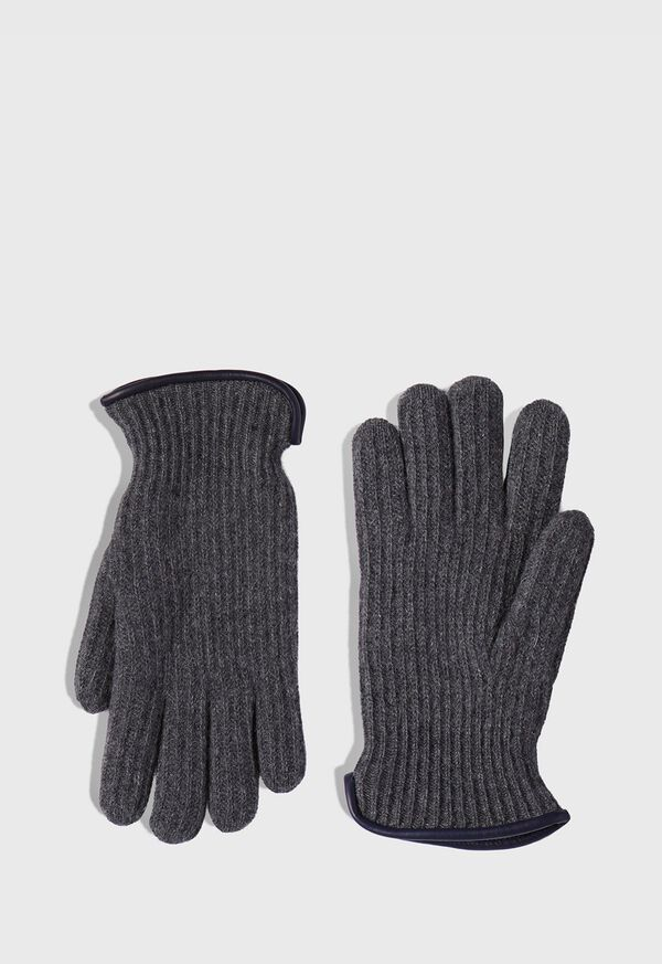 Cashmere Ribbed Glove with Leather Trim Cuff, image 1