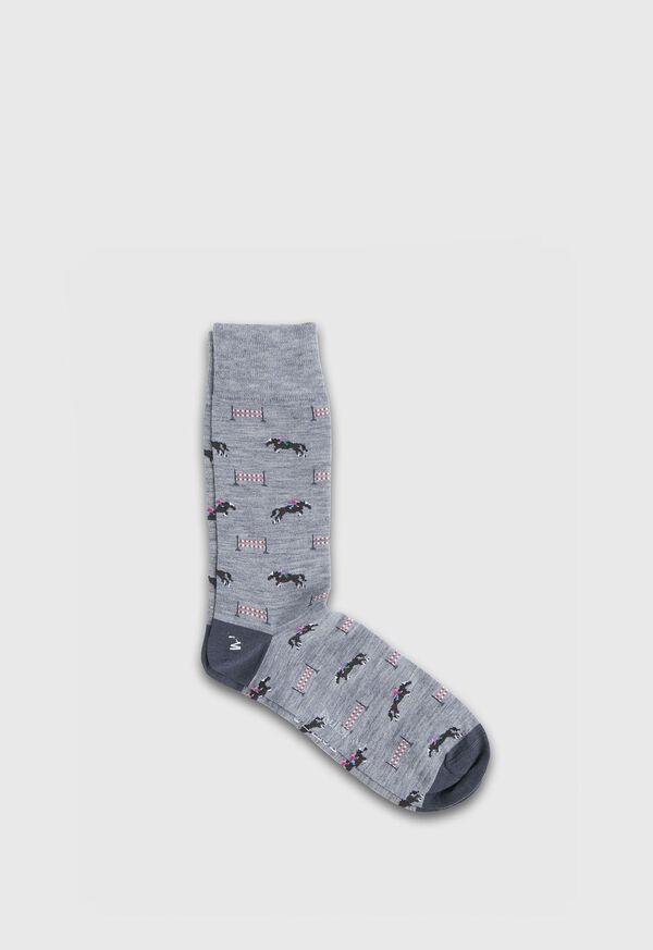 Racing Horse Motif Wool Sock, image 1