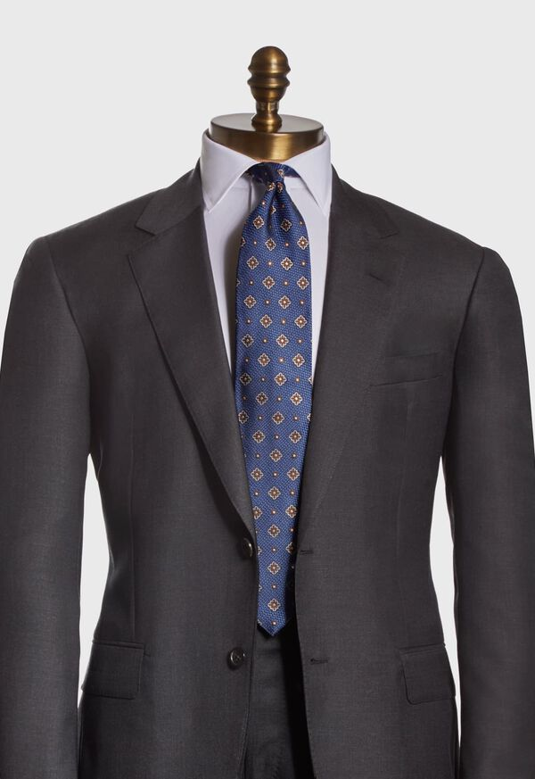 Textured Ground and Royal Square Silk Tie, image 2
