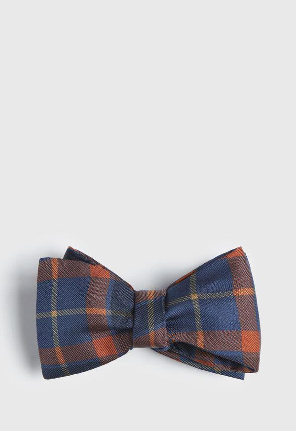 Silk Check Bow Tie, image 1