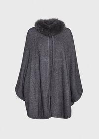 Grey Cape with Fur Trim, thumbnail 1