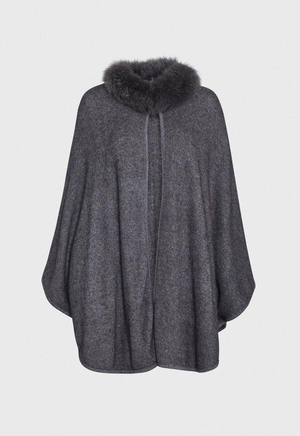 Grey Cape with Fur Trim, image 1