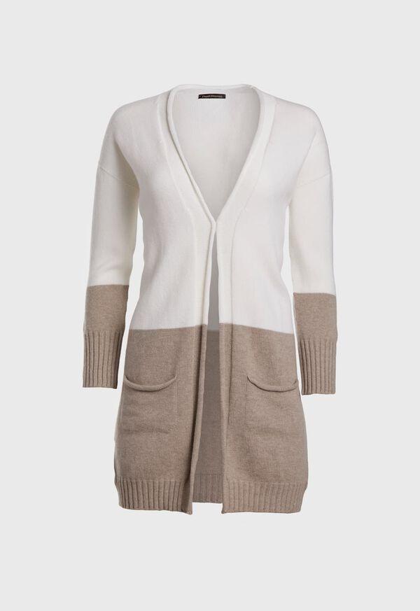 Wool Blend Long Bicolor Cardigan, image 1