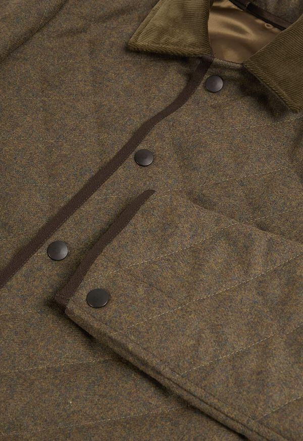 Quilted Loden Barn Jacket with Corduroy Collar, image 2