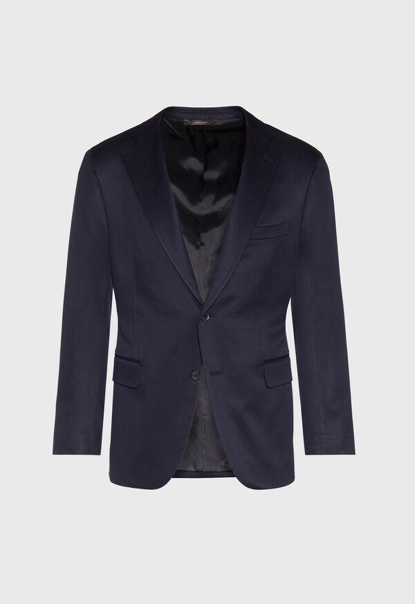 Solid Navy Silk Sport Jacket, image 1