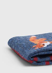 Large Fox Motif Wool Striped Sock, thumbnail 2