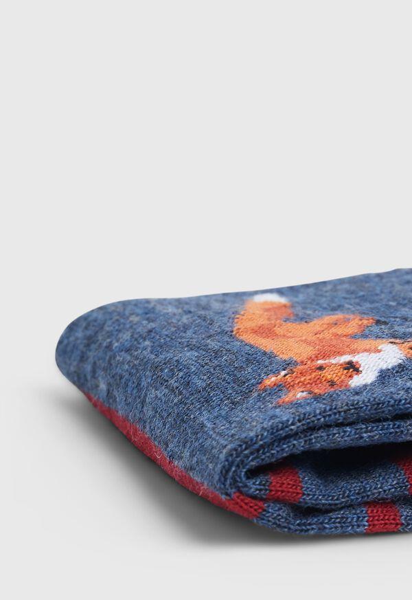 Large Fox Motif Wool Striped Sock, image 2