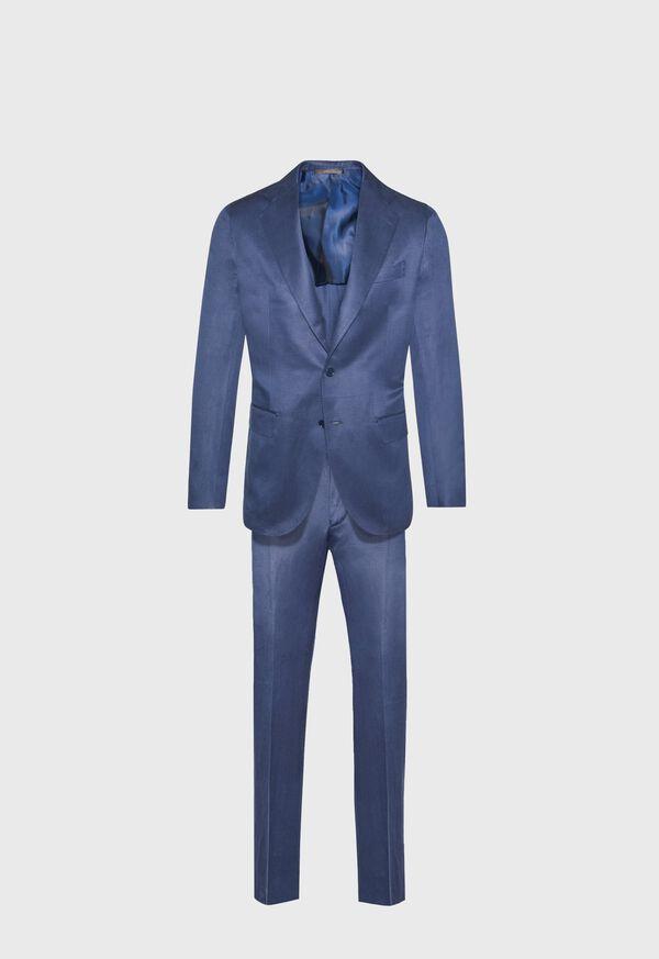 Navy solid Silk Blend Suit, image 1