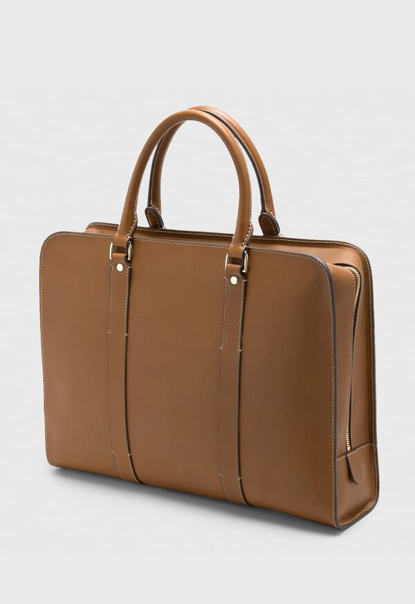 Leather Contrast Stitch Briefcase, image 1
