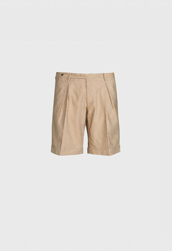 Khaki Linen Blend Short, image 1