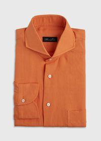 Orange solid Short Sleeve Linen shirt, thumbnail 1