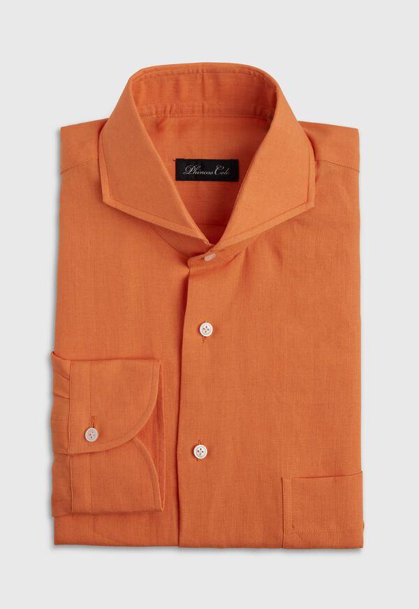 Orange solid Short Sleeve Linen shirt, image 1