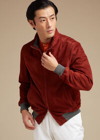 Suede Bomber Jacket with Knit Trim, thumbnail 3