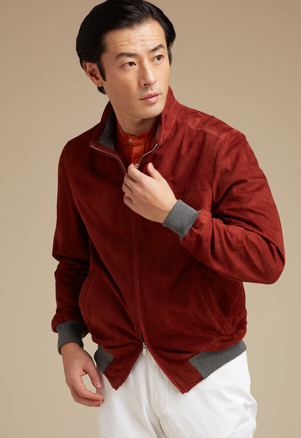 Suede Bomber Jacket with Knit Trim, image 3