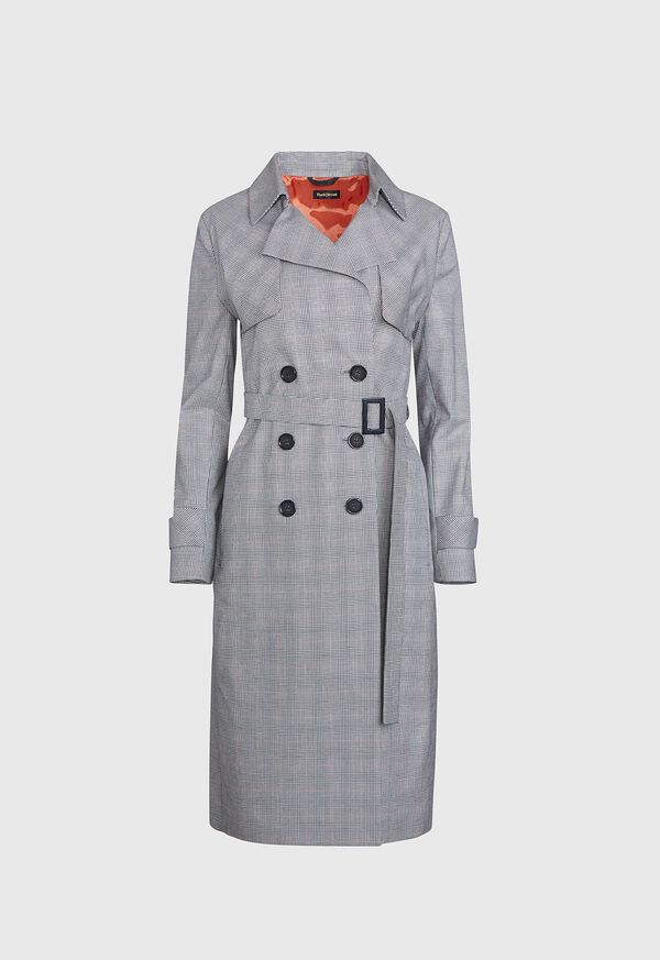 Plaid Trench Coat with Raker, image 1