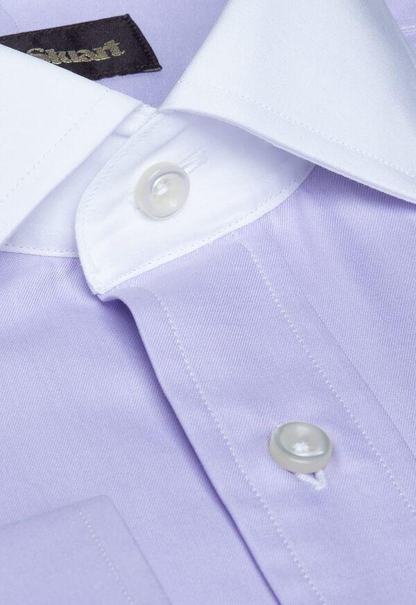 Contrast Collar Cotton Twill Dress Shirt, image 2