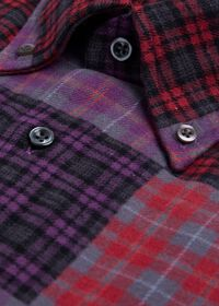 Patchwork Brushed Flannel Sport Shirt, thumbnail 2