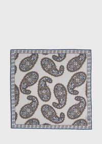 Silk Blend Large Paisley Pocket Square, thumbnail 3