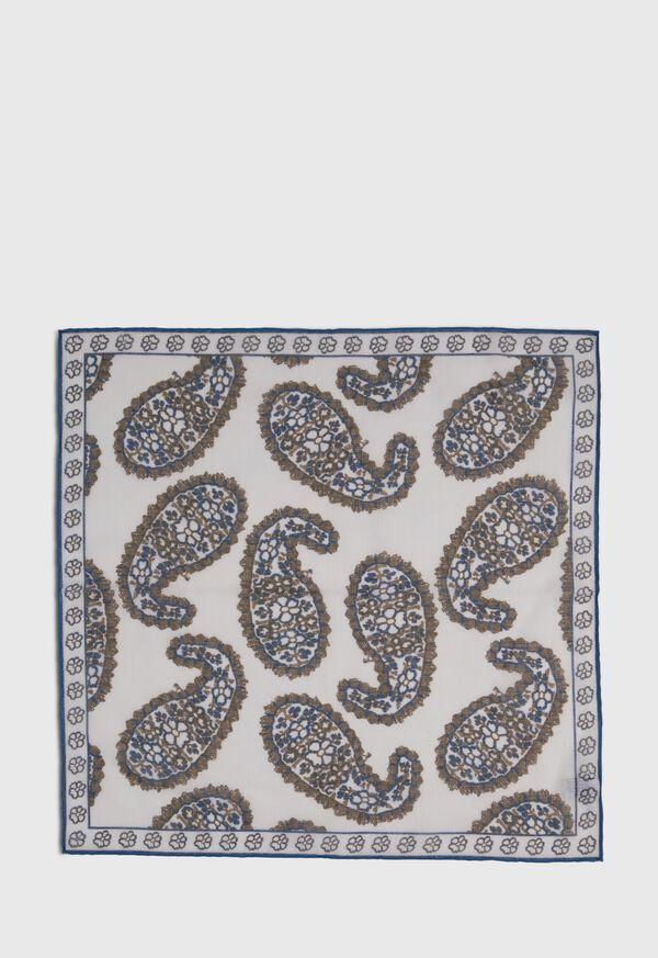 Silk Blend Large Paisley Pocket Square, image 3
