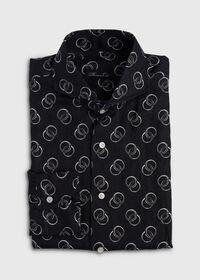 Black & White Ring Print Linen Shirt, thumbnail 1