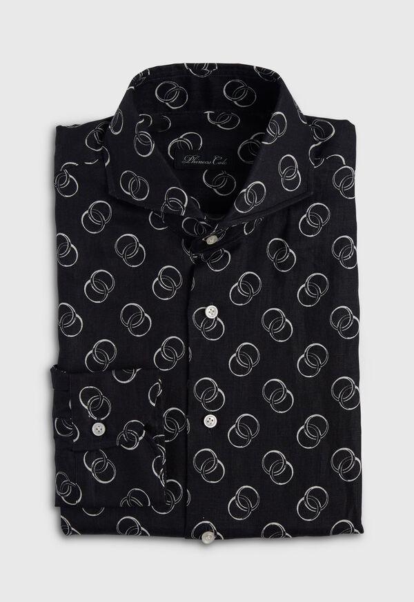 Black & White Ring Print Linen Shirt, image 1