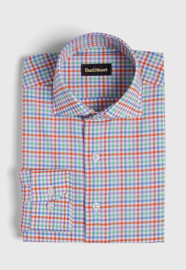 Cotton Seersucker Plaid Sport Shirt, image 1