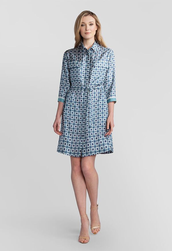 Geometric Print Silk Shirt Dress, image 1