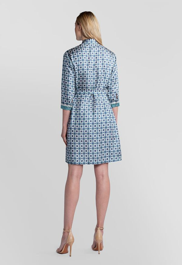 Geometric Print Silk Shirt Dress, image 4