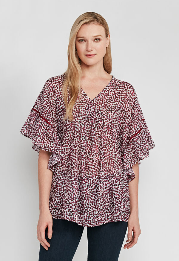 Butterfly Sleeve Floral Blouse, image 1