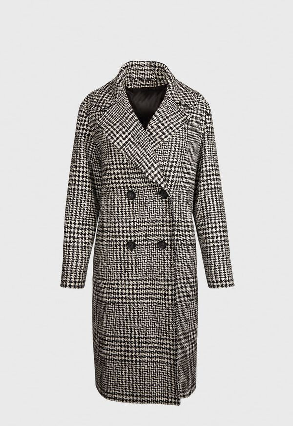Wool and Alpaca Blend Double-Breasted Glen Plaid Coat