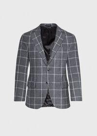 Grey Plaid Wool Sport Jacket, thumbnail 1