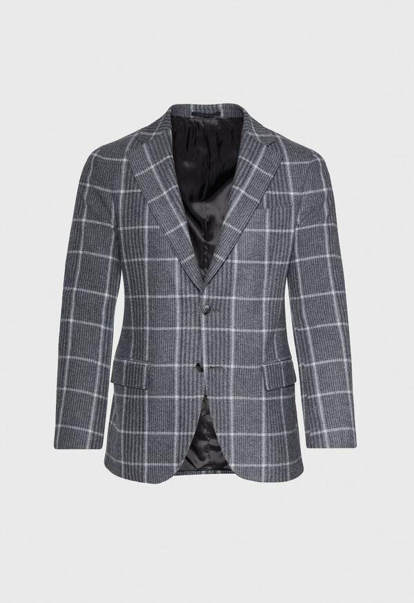 Grey Plaid Wool Sport Jacket, image 1
