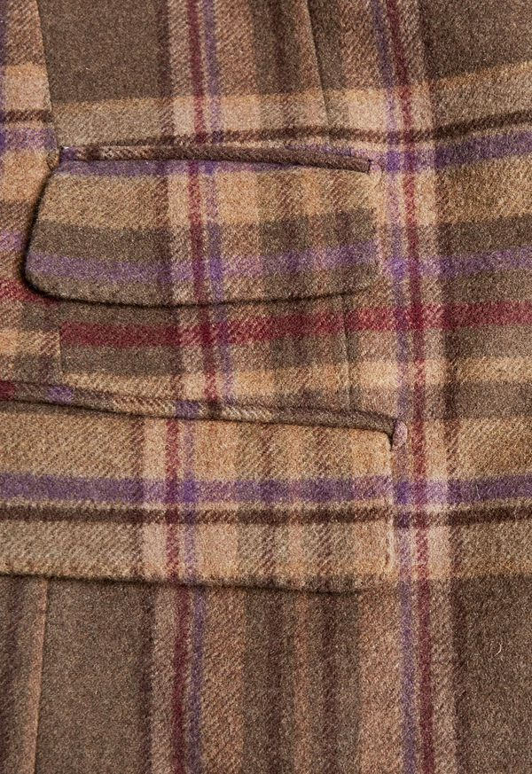 Oatmeal and Rose Wool Blend Plaid Sport Jacket, image 4