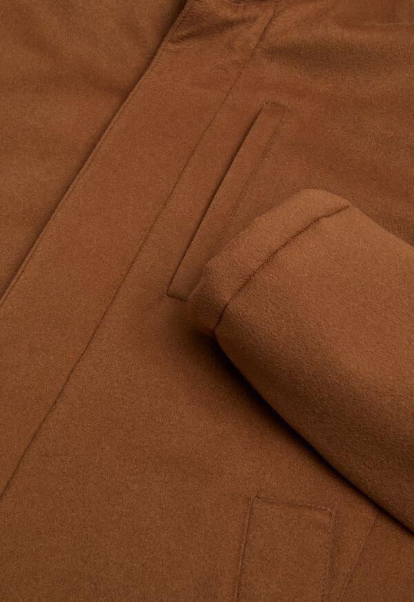 Cashmere Car Coat with Removable Fur Trim, image 2