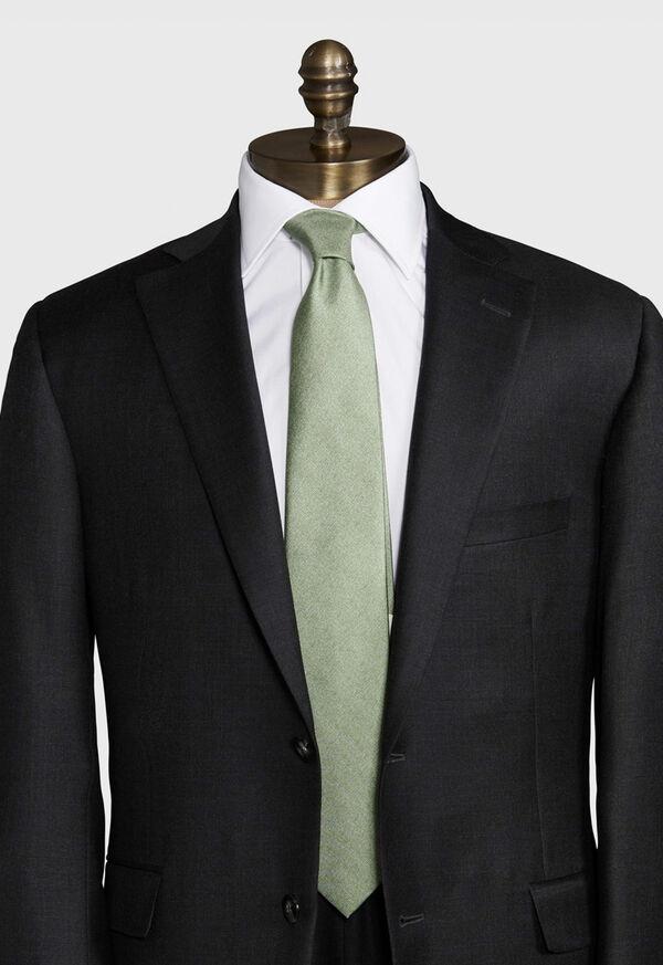 Printed Solid Silk Tie, image 2
