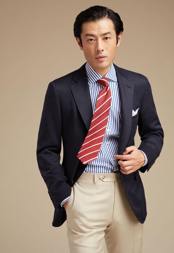 Solid Navy Silk Sport Jacket, image 2