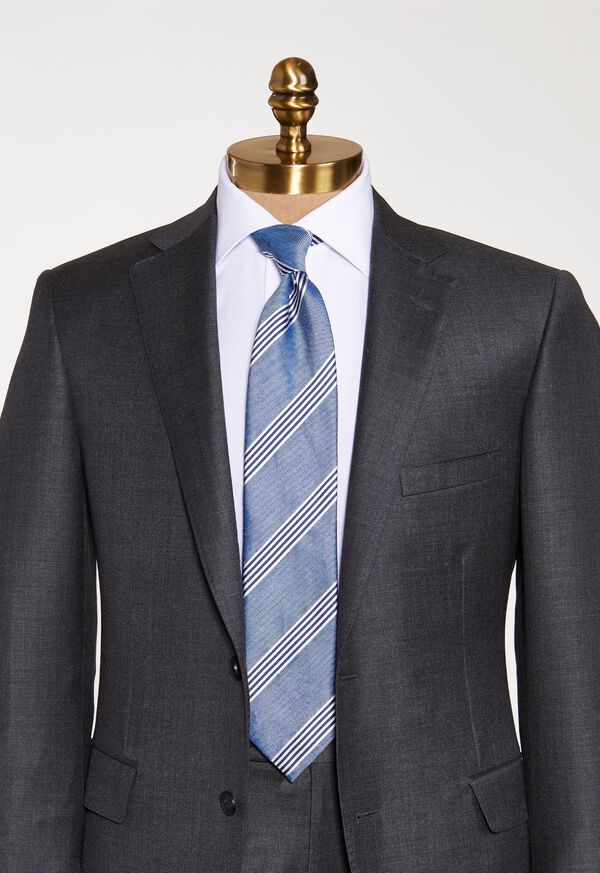 Silk and Linen Stripe Tie, image 2