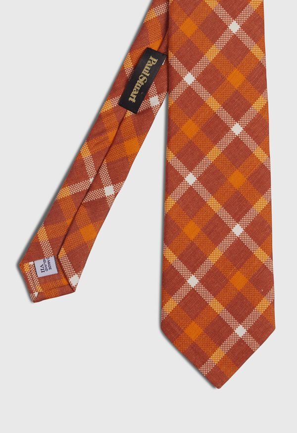 Silk And Linen Plaid Tie, image 1