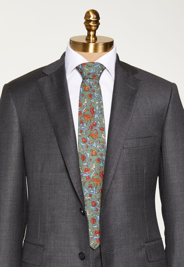 Birds and Deer Motif Tie, image 2