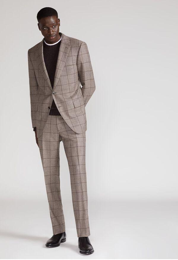 Wool Plaid Classic Shoulder Suit, image 2