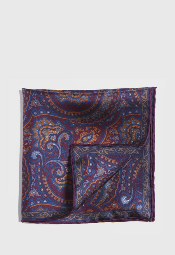 Vintage Paisley Silk Pocket Square, image 1